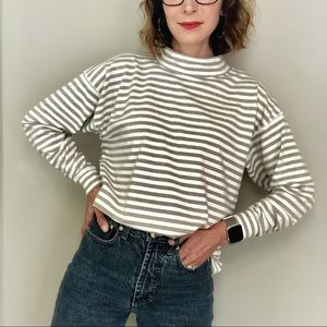 Vintage 90s oversized boxy striped mock neck top M
